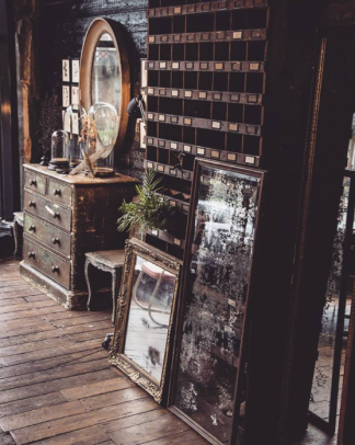Mirrors and Pigeon Hole Cabinet